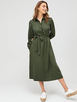 V by Very V By Very Tie Waist Midi Shirt Belted Dress - Khaki Picture