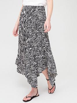 V by Very V By Very Asymmetric Pleated Skirt - Zebra Picture