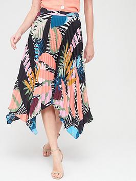 V by Very V By Very Asymmetric Pleated Skirt - Leaf Print Picture