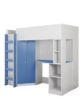 Very Miami Fresh High Sleeper Bed With Desk, Wardrobe And Shelves - Blue -  ... Picture