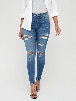 V by Very V By Very Ella High Waist Open Rips Skinny Jeans - Mid Wash Picture