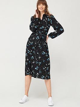 V by Very V By Very Tie Front Midi Shirt Dress - Floral Picture