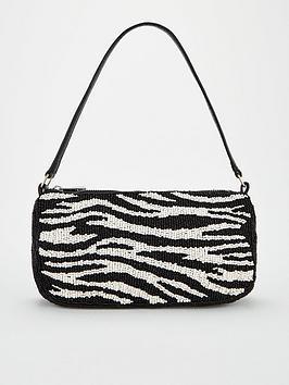 V by Very V By Very Rita Beaded Shoulder Bag - Black/White Picture