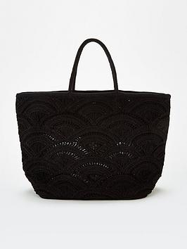 V by Very V By Very Jax Cut Out Weave Tote - Black Picture