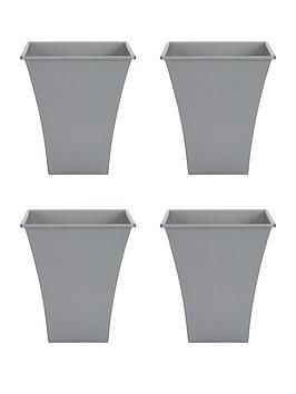 Wham Wham Set Of 4 Silver 23Cm Square Metallica Planters Picture