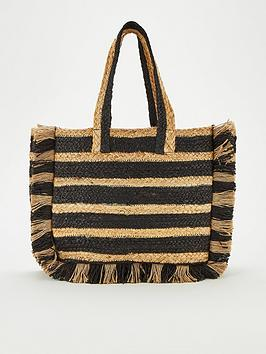 V by Very V By Very Jellie Stripe Straw Tote Bag - Natural/Black Picture