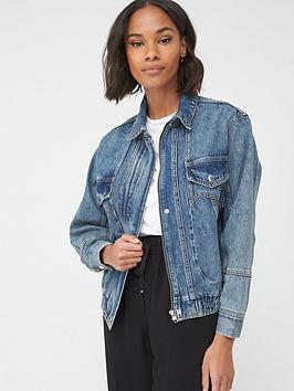 V by Very V By Very Elasticated Hem Denim Jacket - Vintage Wash Picture
