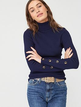 v-by-very-roll-neck-rib-jumper-navy