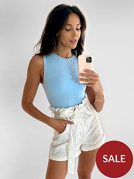 michelle-keegan-paperbag-elasticated-waist-denim-shorts-white