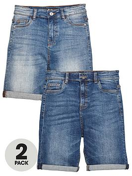 V by Very V By Very Boys 2 Pack Regular Fit Denim Shorts - Dark And Light  ... Picture
