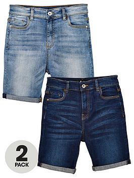 V by Very V By Very Boys 2 Pack Skinny Fit Denim Shorts - Dark Wash/Light