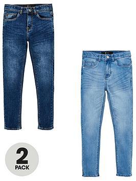 V by Very V By Very Boys 2 Pack Skinny Jeans - Sky Blue/Mid Blue Picture