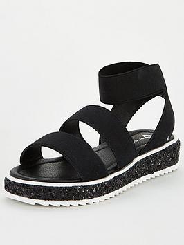 V By Very Girls Elastic Strap Glitter Sole Sandal - Black