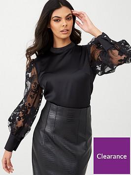 river-island-printed-organza-puff-sleeve-blouse-black
