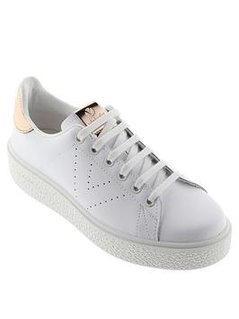 Victoria Victoria Chunky Sole Leather Tennis Glitter Heel Tab Trainer Picture