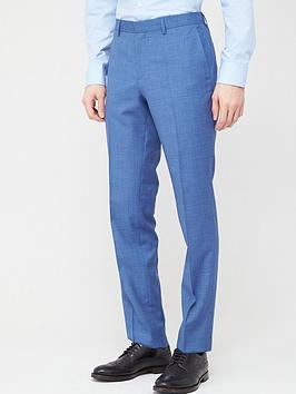 HUGO  Hugo Hugo Getlin Check Slim Fit Suit Trousers - Light Blue