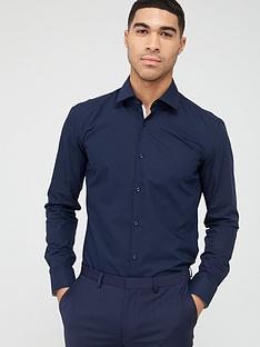 hugo-koey-slim-fit-long-sleeve-formal-shirt-navy
