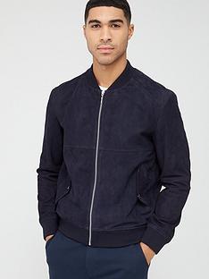 hugo-laures-suede-bomber-jacket-navy