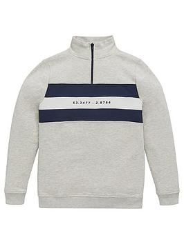 V by Very V By Very Boys Colour Block Half Zip Sweat Top - Grey Marl Picture
