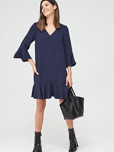 v-by-very-frill-sleeve-smock-dress-navy