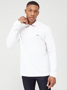 hugo-donol-long-sleeve-pique-polo-shirt-white