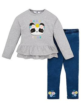 V by Very V By Very Girls Panda Ruffle Sweatshirt And Jegging Outfit -  ... Picture