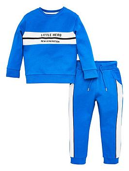 V by Very V By Very Boys Little Hero Colour Block Tracksuit - Blue Picture