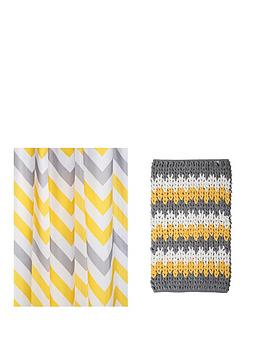 croydex-chevron-shower-curtain-and-bathmat-set-ndash-yellow-grey-and-white