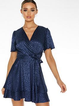 Quiz Quiz Jacquard Short Sleeve Wrap Dress - Navy Picture