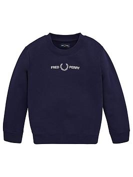 Fred Perry Fred Perry Boys Logo Crew Neck Sweatshirt - Navy Picture