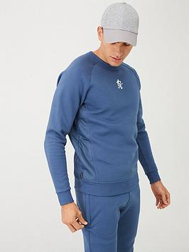 Gym King  Overlay Crew Neck Sweatshirt - Airforce Blue