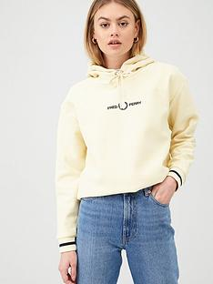 fred-perry-embroidered-hooded-sweatshirt-yellow