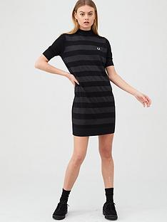 fred-perry-knitted-stripe-dress-black