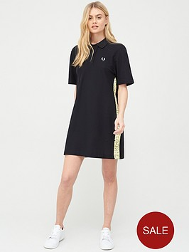 fred-perry-precis-pique-dress-with-floral-taping-black