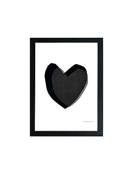 East End Prints East End Prints Black Heart By Seventy Tree A3 Wall Art Picture