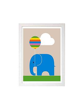 East End Prints East End Prints Elephant By Dicky Bird A3 Framed Wall Art Picture