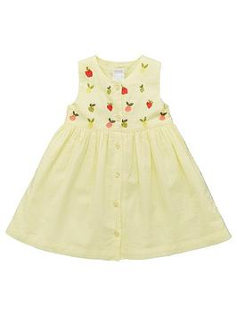 Mamas & Papas Mamas & Papas Baby Girls Embroidered Yoke Dress - Yellow Picture