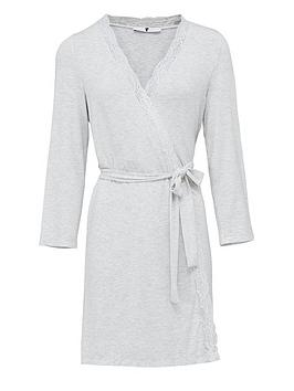V by Very V By Very Lace Trim Robe - Grey Ivory Picture