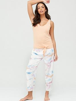 V by Very V By Very Woven/Jersey Pyjama Set - Cloud Print Picture