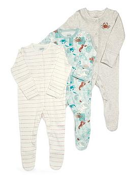 Mamas & Papas   Baby Boys 3 Pack Lobster Sleepsuits - Multi