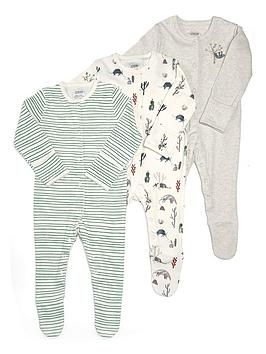 Mamas & Papas   Baby Boys 3 Pack Outback Sleepsuits - Multi