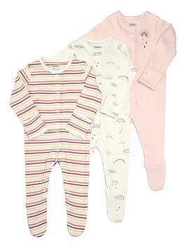 Mamas & Papas   Baby Girls 3 Pack Rainbow Sleepsuits - Multi