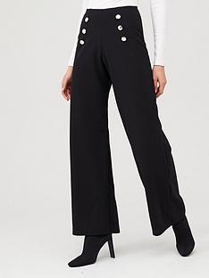 v-by-very-stretch-crepe-button-wide-leg-trouser-black