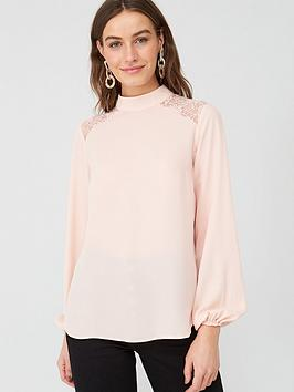 V by Very V By Very Lace Shoulder Long Sleeve Top - Blush Picture