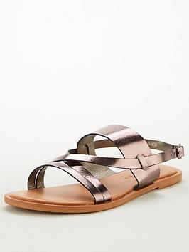 V by Very V By Very Hero Wide Fit Leather Strappy Sandal - Pewter Picture
