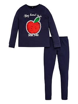 V by Very V By Very Girls New York Apple Flippy Sequin Sweatshirt And  ... Picture