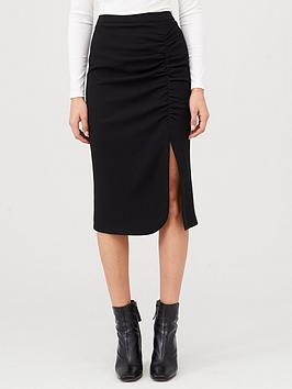 V by Very V By Very Ruched Midi Skirt - Black Picture