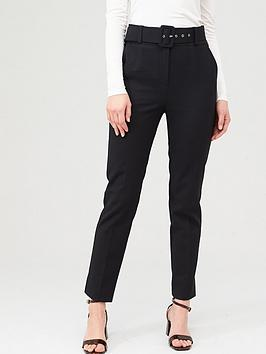 V by Very V By Very Belted Straight Leg Trousers - Black