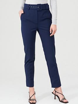 V By Very Belted Straight Leg Trousers - Navy