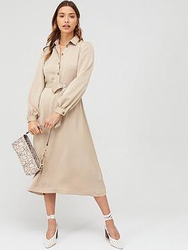 V by Very V By Very Tie Waist Printed Shirt Dress - Mono Picture